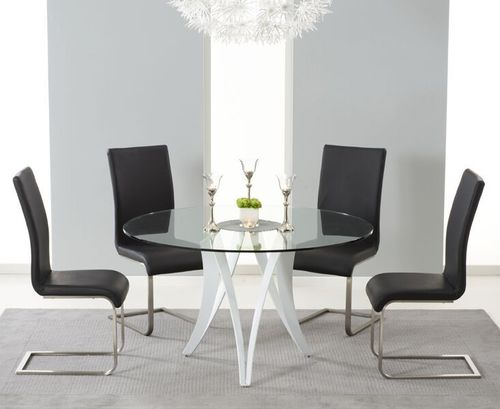 Round 130cm glass dining table and 4 black chairs