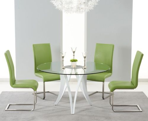 Round 130cm glass dining table and 4 green chairs