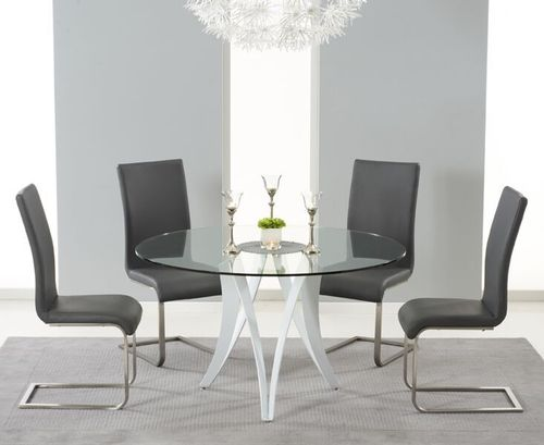 Round 130cm glass dining table and 4 grey chairs