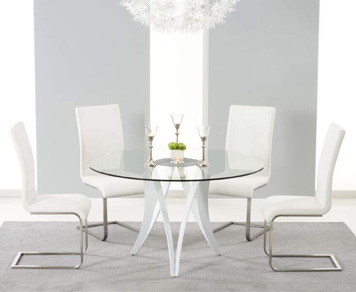Round 130 Glass Dining Table 4 Ivory White Chairs Homegenies