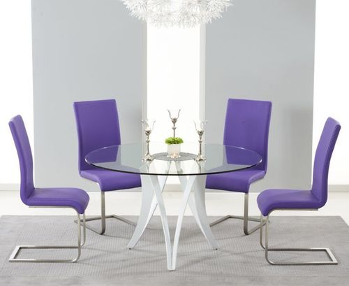 Round 130cm glass dining table and 4 purple chairs