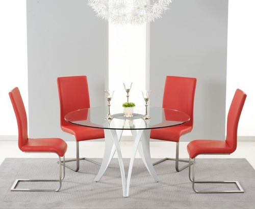 Round 130cm glass dining table and 4 red chairs