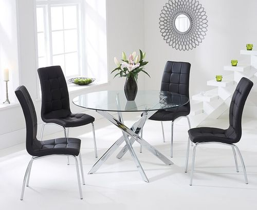 110cm Round glass dining table and 4 black chairs