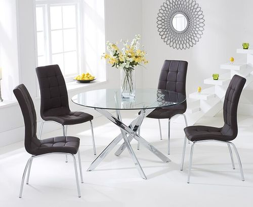 110cm Round glass dining table and 4 brown chairs