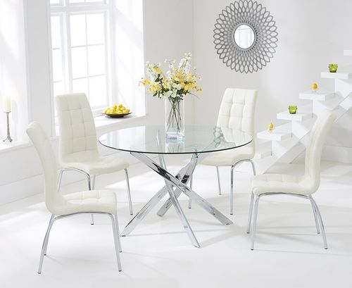 110cm Round glass dining table and 4 cream chairs