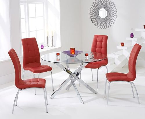110cm Round glass dining table and 4 red chairs