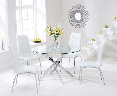 110cm round glass dining table and 4 white chairs