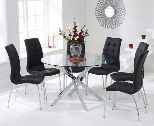 120cm Round glass dining table and 6 black chairs