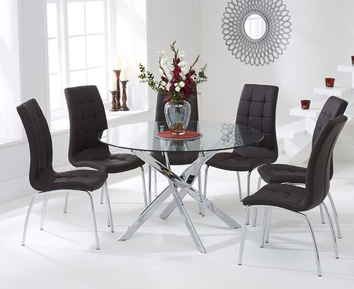 120cm Round glass dining table and 6 brown chairs