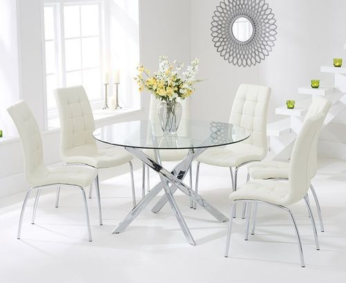 120cm Round glass dining table and 6 cream chairs