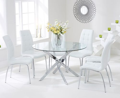 120cm round glass dining table and 6 white chairs