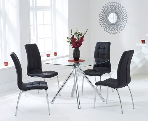 100cm Square glass dining table and 4 black chairs