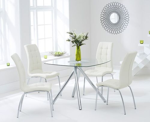 100cm Square glass dining table and 4 cream chairs