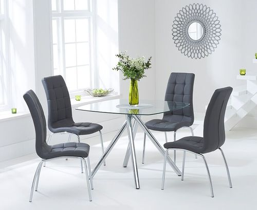 100cm Square glass dining table and 4 grey chairs