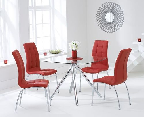 100cm Square glass dining table and 4 red chairs