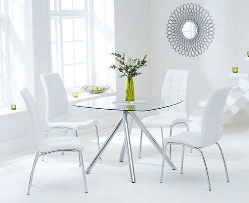 100cm Square glass dining table and 4 white chairs