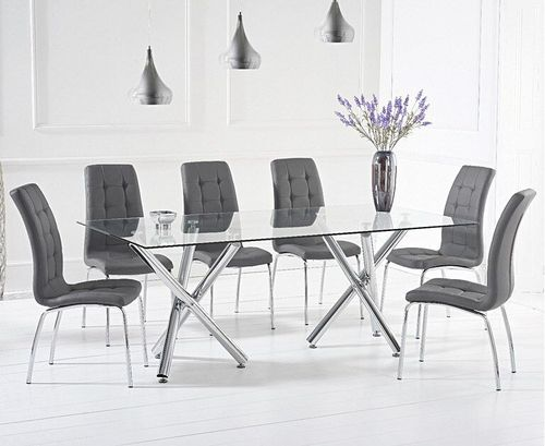 200cm Clear glass dining table and 8 grey chairs