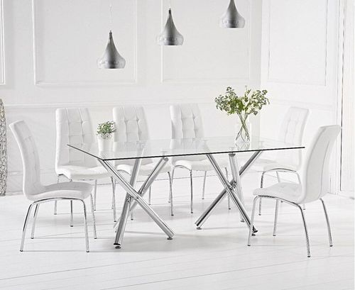200cm Clear glass dining table and 8 white chairs