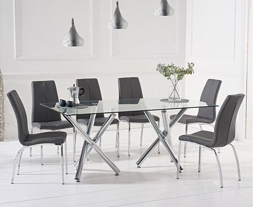 Glass dining table and 8 grey faux leather chairs