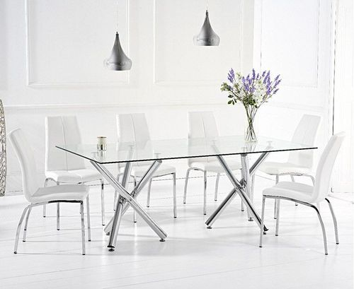 Glass dining table and 8 white faux leather chairs