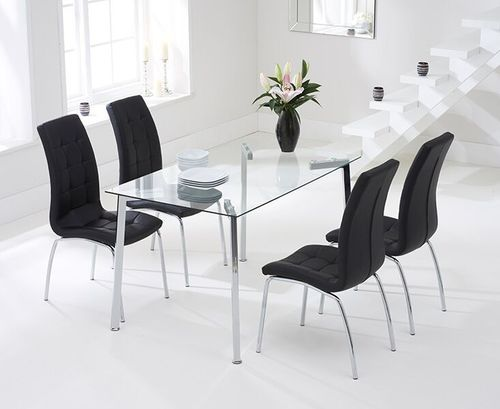 130cm clear glass dining table and 4 black chairs