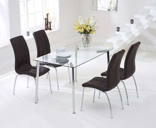 130cm clear glass dining table and 4 brown chairs