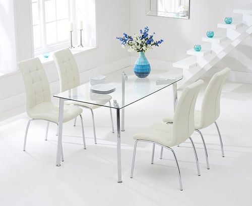 130cm clear glass dining table and 4 cream chairs