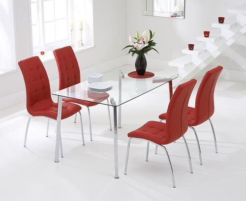 130cm clear glass dining table and 4 red chairs