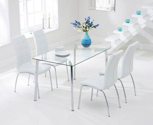 130cm clear glass dining table and 4 white chairs