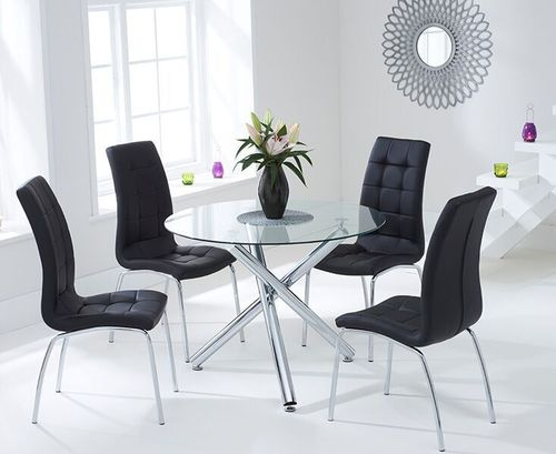 100cm Round glass dining table and 4 black chairs