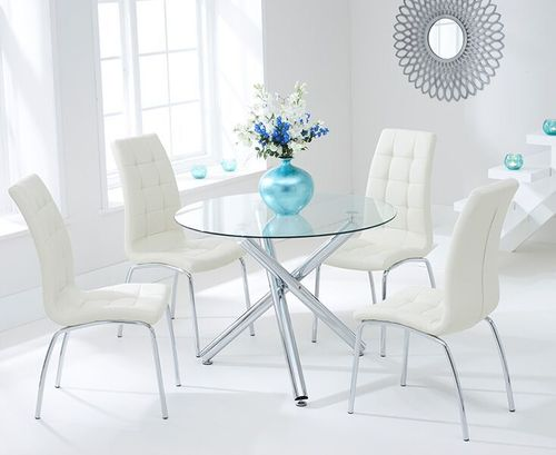 100cm round glass dining table and 4 cream chairs