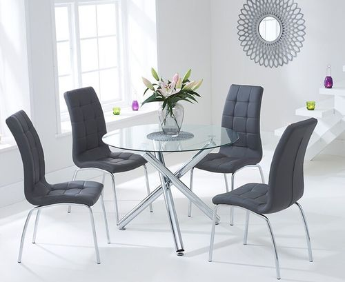 100cm round glass dining table and 4 grey chairs