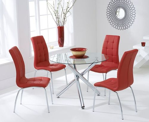100cm round glass dining table and 4 Red chairs