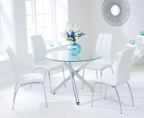 100cm round glass dining table and 4 white chairs