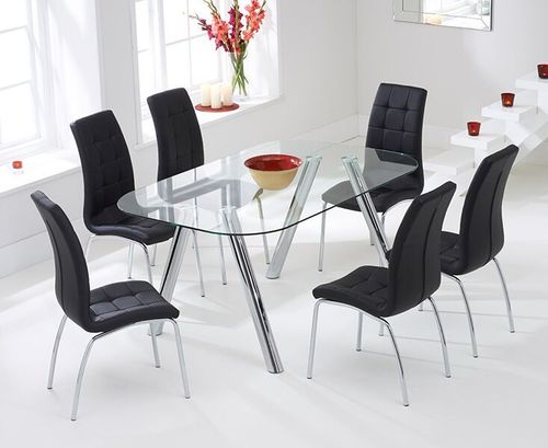 160cm glass dining table and 6 black chairs