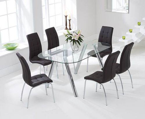 160cm glass dining table and 6 brown chairs
