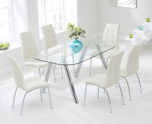 160cm glass dining table and 6 cream chairs