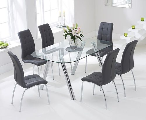 160cm glass dining table and 6 grey chairs