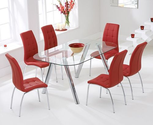 160cm glass dining table and 6 red chairs