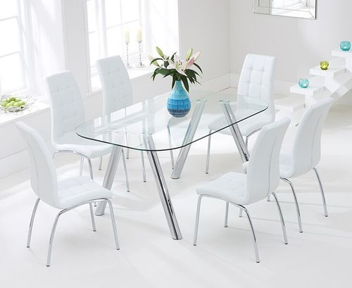 160cm glass dining table and 6 white chairs