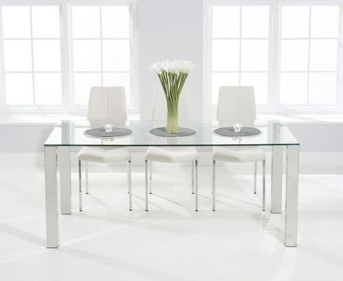 180cm glass dining table and 8 white chairs