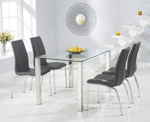120cm glass dining table with 4 grey chairs