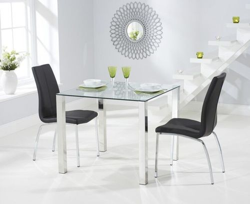 90cm glass dining table with 2 black chairs