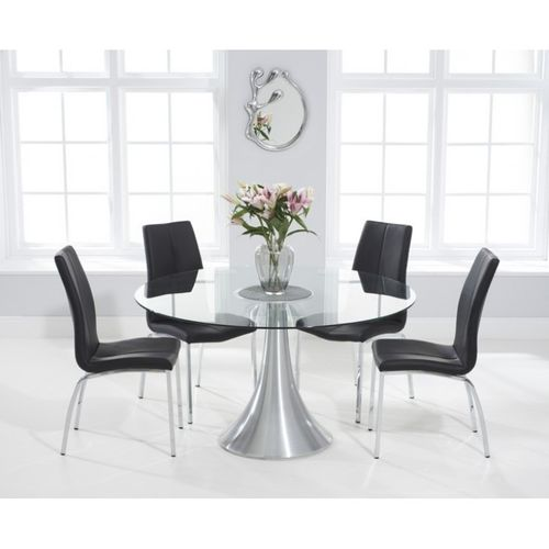 135cm Round glass dining table and 6 black chairs