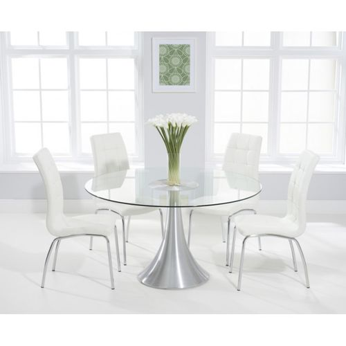 135cm Round glass dining table and 6 white chairs