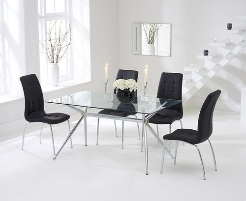 150cm clear glass dining table and 6 black chairs