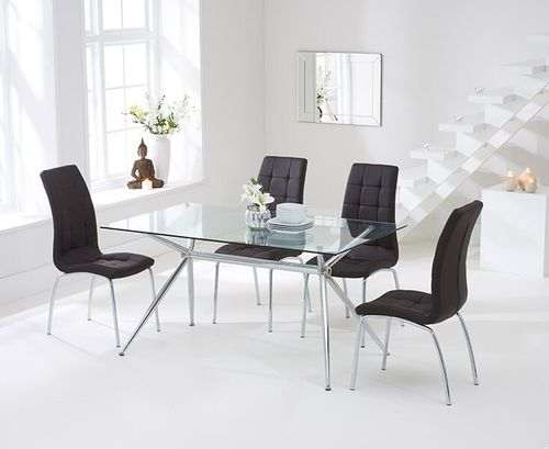 150cm clear glass dining table and 6 brown chairs