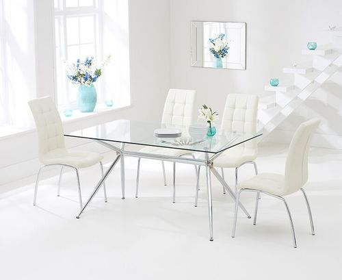 150cm clear glass dining table and 6 cream chairs