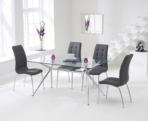150cm clear glass dining table and 6 grey chairs
