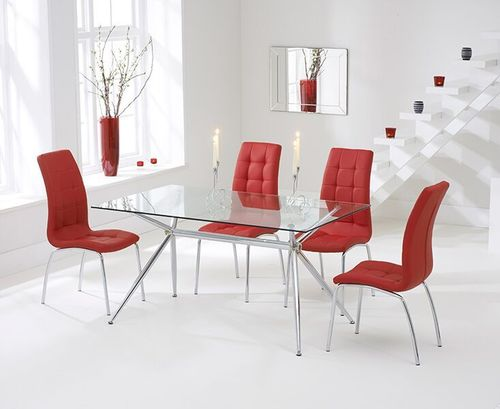 150cm clear glass dining table and 6 red chairs